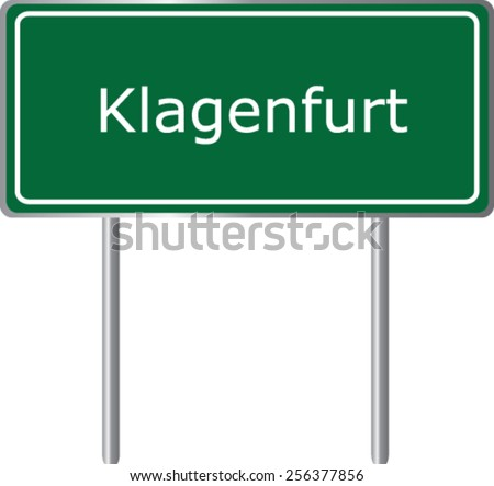 Klagenfurt, Austria, road sign green vector illustration, road table - stock vector