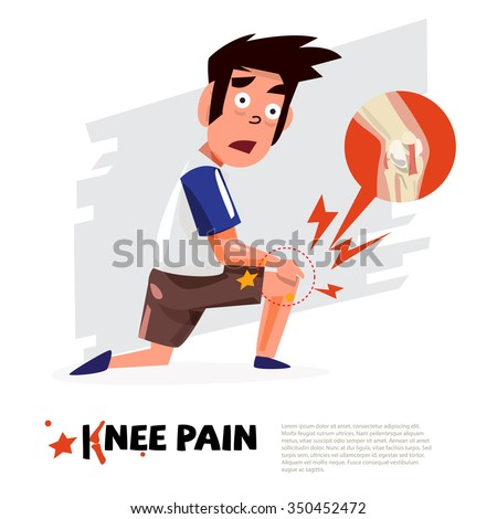 knee pain. character design with icon. - vector illustration - stock vector