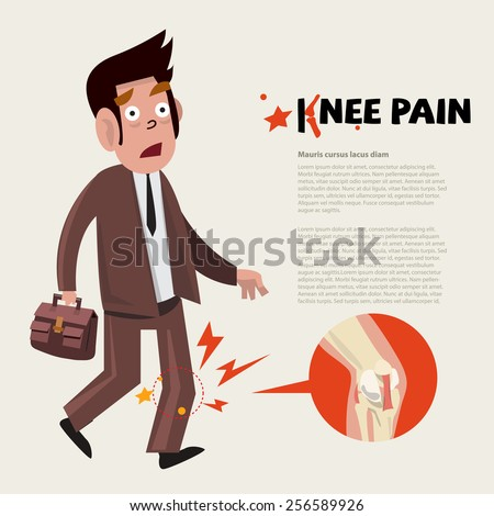 knee pain character - vector illustration - stock vector