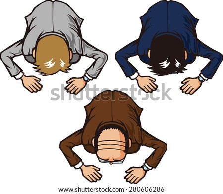 Kneeling down on the ground - stock vector