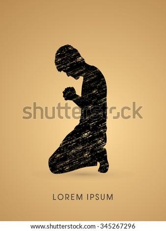 Kneeling Man Praying, designed using grunge brush graphic vector. - stock vector