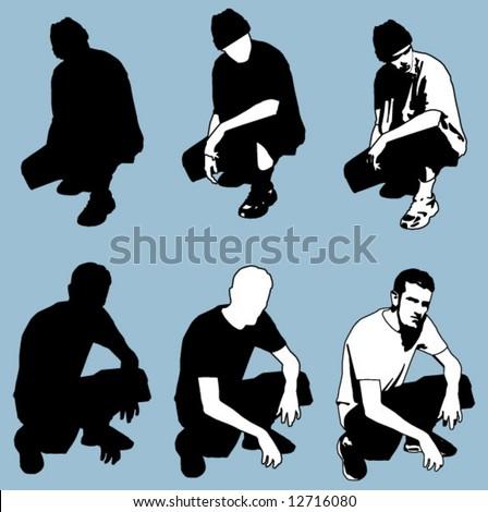 kneeling pose - stock vector