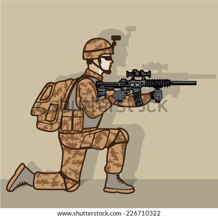 Kneeling Soldier - stock vector