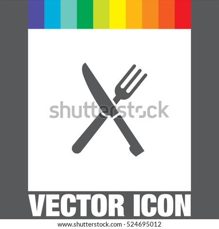 Knife and fork vector icon. Restaurant sign. Dinner and lunch symbol