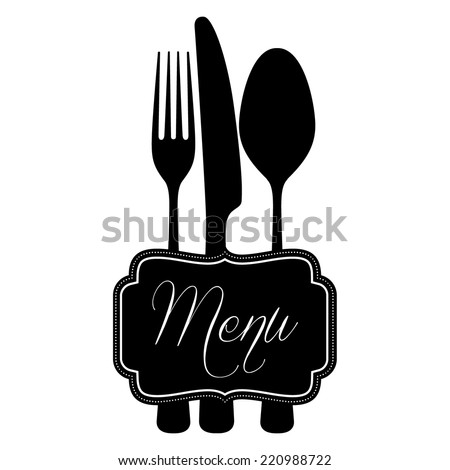 knife and fork with ornate horizontal menu title - stock vector