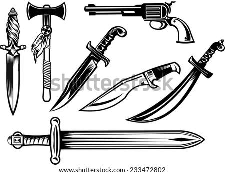Knife, dagger, sword and tomahawk - stock vector