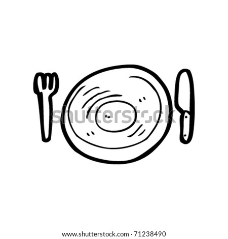 knife, fork and plate cartoon - stock vector