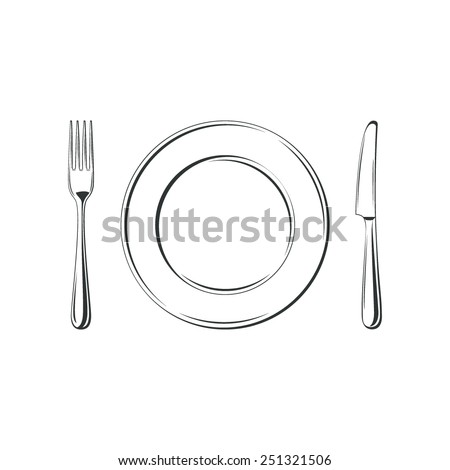 Knife, fork and plate, isolated on white background. Simple Icon. Vector illustration - stock vector