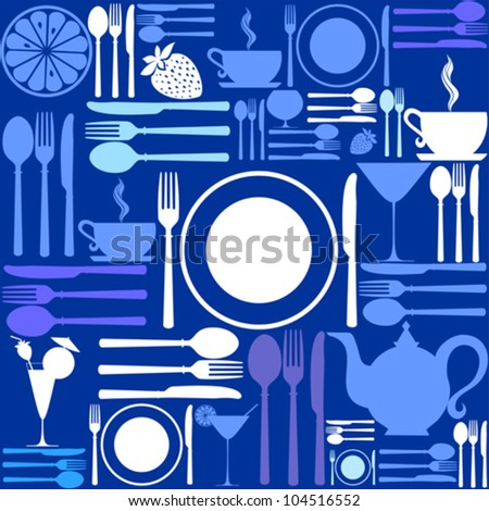 knife, fork and spoon. Cutlery icons seamless pattern background. Vector Illustration