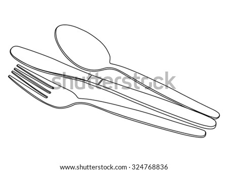 Knife, fork and spoon - cutlery set - black lines silhouette - vector - stock vector