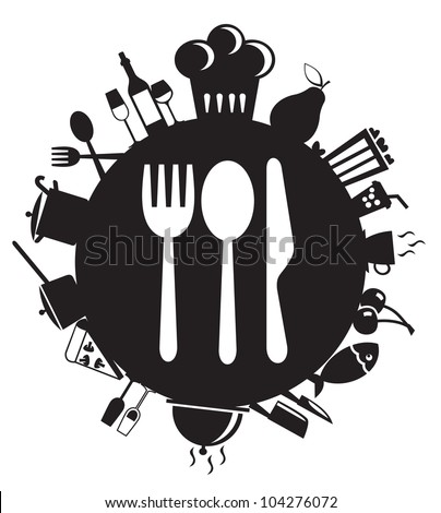 knife, fork and spoon on round - stock vector