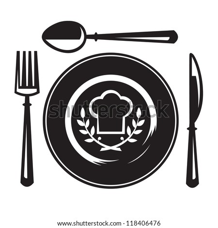 knife, fork, spoon and plate - stock vector