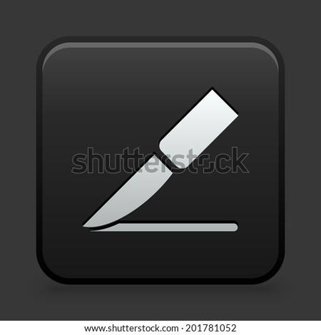 Knife Icon on Black and White Button  - stock vector