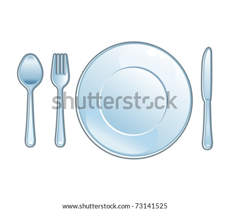 Knife, plate and fork. Spoon - stock vector