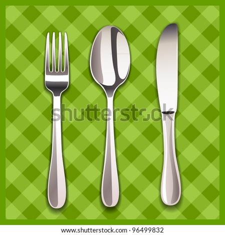 knife, spoon and fork - stock vector