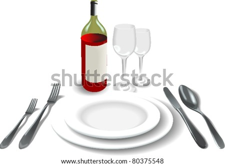 Knife, white plate - stock vector