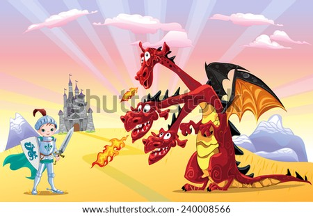 Knight and dragon - stock vector