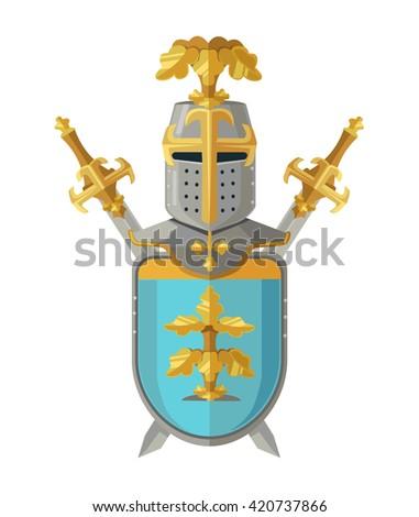 Knight armor. Vector flat cartoon illustration - stock vector