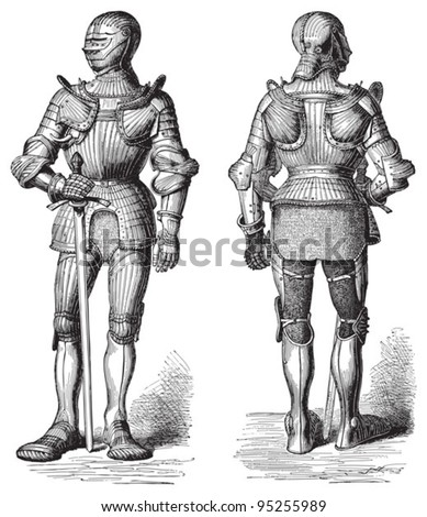 Knight armour (Cuirass) / illustration from Meyers Konversations-Lexikon 1897 - stock vector