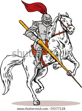 Knight attacking - stock vector