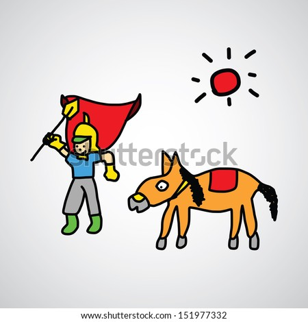 Knight cartoon sketch style for use - stock vector