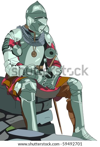 knight colored - stock vector