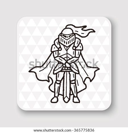 knight doodle - stock vector