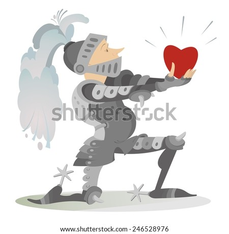 Knight gives the heart to his fiancee - stock vector
