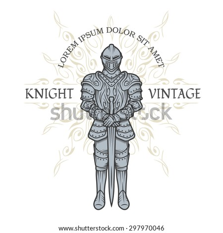 Knight in armor. Vintage style. - stock vector