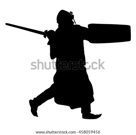 Knight in armor, with sword, helmet and shield vector silhouette illustration isolated on white background.
