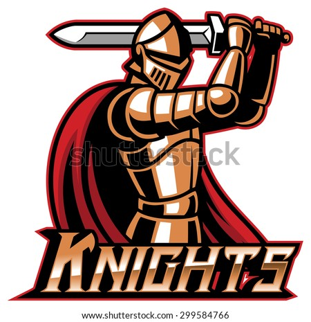 knight mascot with sword - stock vector