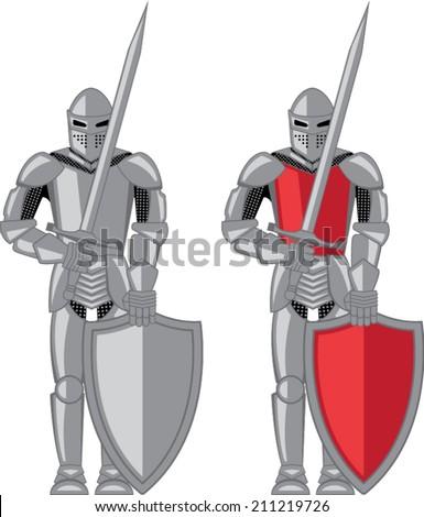 Knight metal red vector - stock vector