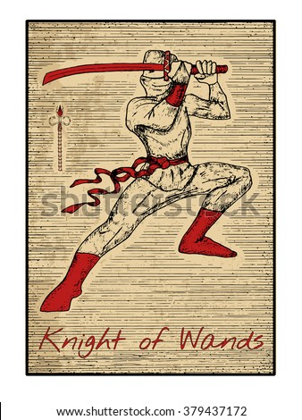 Knight of wands in red. The minor arcana tarot card, vintage hand drawn engraved illustration with mystic symbols. Warrior with sword or ninja with katana - stock vector