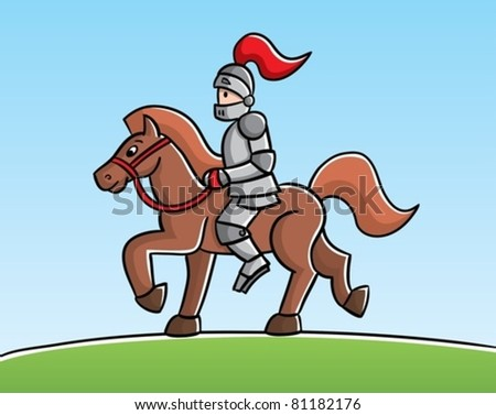 Knight on a horse - stock vector
