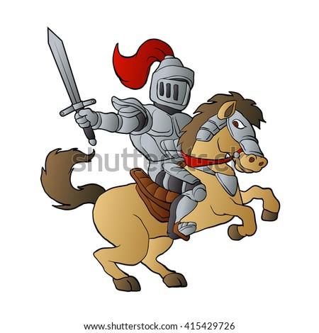 Knight on Horse - stock vector