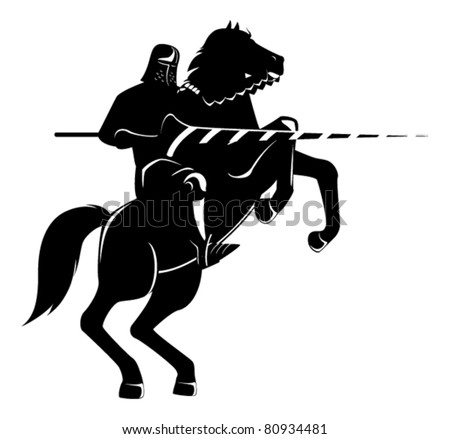 knight on horseback with spear fighting - stock vector
