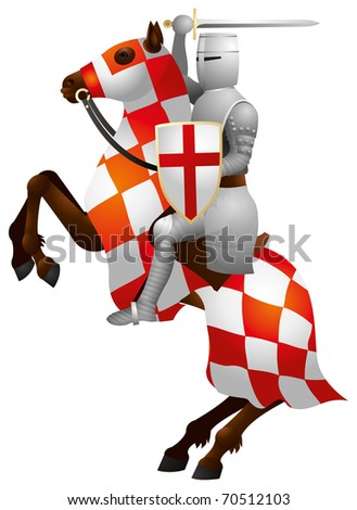 Knight on the Horse, Crusader, medieval warrior, cavalier soldier - stock vector