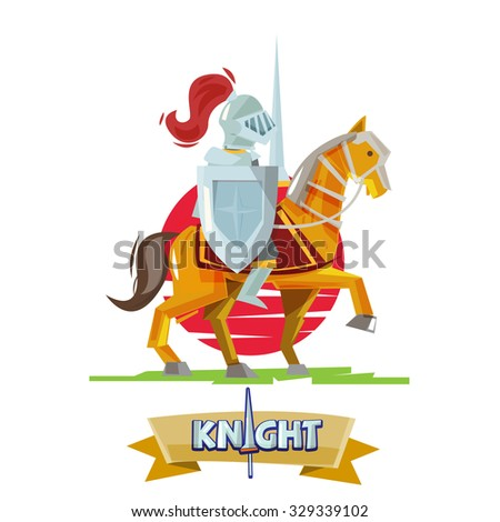 knight riding on war horse with sunset background. character design. battle concpet - vector illustration - stock vector