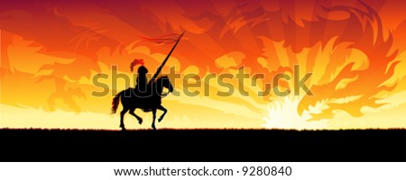 Knight riding towards a sunset sky dragon (other landscapes are in my gallery) - stock vector