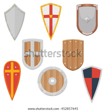 Knight Shields Set Middle Ages Vector Stock Vector Hd Royalty Free