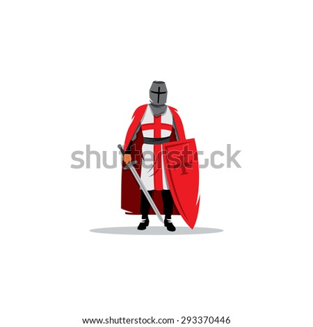 Knight sign. Crusader helmet with sword and shield. Vector Illustration. Branding Identity Corporate logo design template Isolated on a white background - stock vector