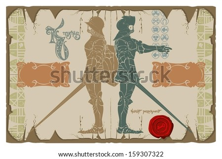 Knight stencils on parchment, vector - stock vector