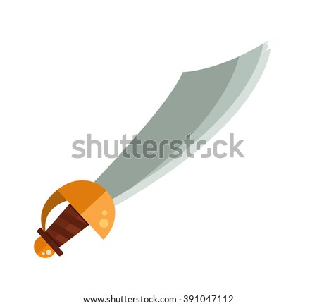 Knight sword isolated cartoon vector illustration on white and medieval knight sword steel weapon and knight sword with a gold handle. - stock vector