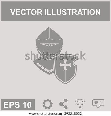 Knight with a shield vector icon. - stock vector