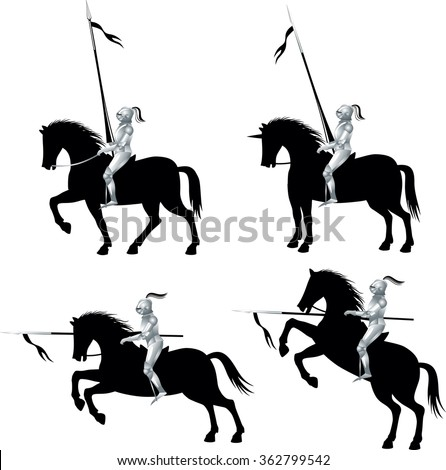 Knight with a spear on horse. Silhouette. Set. White background       - stock vector
