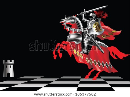 Knight with a sword in red on a chessboard on a black background - stock vector