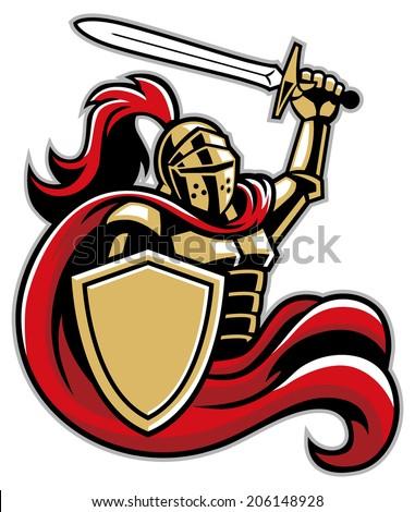 Knight Shield Sword Stock Vector 206148928 Shutterstock