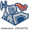 Knight With Spear Axe And Shield - stock vector