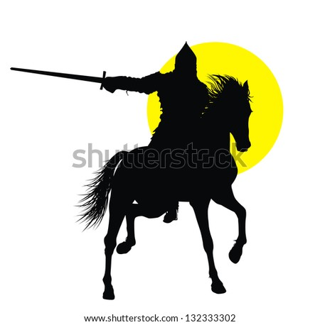 Knight with sword riding on horseback detailed vector silhouette - stock vector