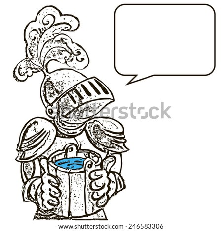 Knight with water (line). Knight with a bucket of water. He wants to drink. The visor on the helmet closed. Knight says something. - stock vector